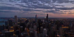 Chicago-sunset (Amir.H.M) Tags: city sunset sky panorama cloud chicago tower skyscraper signature lounge windy hancock grattacielo windycity signaturelounge