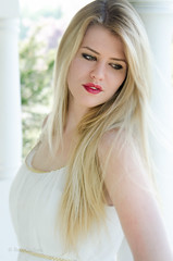Brianna in White (Ron Clifford) Tags: light red test white girl beautiful beauty spring pretty gorgeous columns longhair fair lips teen blonde attractive stunning looks lipstick delicate sort goodlooking airy caucasian whispy caucasion modelcherrytreewoman