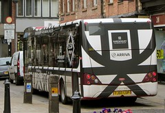 Timber-framed bus? (wonky knee) Tags: blackandwhite bus shrewsbury parkandride timberframed ukshropshire