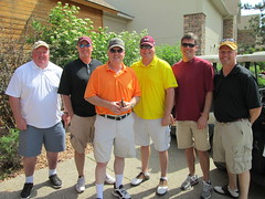 Ken Traxler '89, Mark Ekren, Dean Erickson, Brett Schmidt, Brian Solvie '91, and Terry Johnson (University of Minnesota, Morris Alumni Association) Tags: golf athletes cougar alumni umm outing cougars cougarfootball