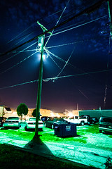 Hannibal at night (code poet) Tags: city travel sky moon night clouds town pole powerlines missouri citylights 5d hannibal 24105mm