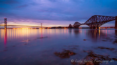 forth bridges (pixellesley) Tags: ocean road light sea water river landscape evening scotland rocks bridges railway illuminated theworldwelivein magicunicornverybest magicunicornmasterpiece