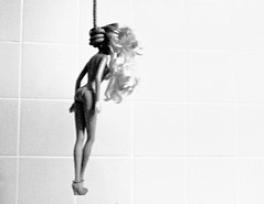 Barbie (pluto_moonshine) Tags: toy bathroom shower death doll suicide rope tiles hanging hang noose