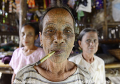 MYANMAR (BoazImages) Tags: woman face tattoo spider women asia web culture documentary tribal elderly myanmar southeast tribe facial chin boazimages