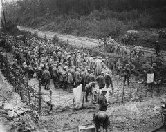WWI0015B1 (ww1images) Tags: wood camp pen march compound holding post walk brodie helmet guard railway line cap german barbedwire soldiers british kit shelter telegraph dugout washing troops officer corrugated prisoner corporal gather sandbag allied duckboard greatcoat stallheim elephantiron