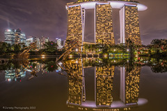 Dragonfly Lake (chaoticbusher) Tags: lake reflection night marina landscape bay nikon singapore long exposure cityscape dragonfly manual nikkor sands dslr fx blend mbs d800 dx uwa 3image 1024mm