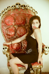Seducing death (Mario Sepülveda) Tags: woman cute sexy girl beautiful lady death mujer model chair chica mario modelo sensual muerte linda silla bella hermosa calacas dennise sepúlveda sepülveda boneshuesos