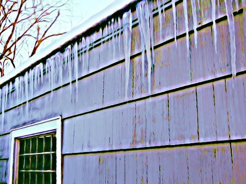 Icy garage by BeFunky.com