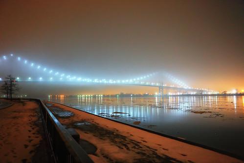 "Ambassador Bridge in Heavy Fog • <a style=""font-size:0.8em;"" href=""http://www.flickr.com/photos/76866446@N07/11480933953/"" target=""_blank"">View on Flickr</a>"