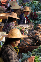 Straw hats (I.M.W.) Tags: vegetables canon women market burma myanmar dslr shanstate kalaw strawhats canon550d
