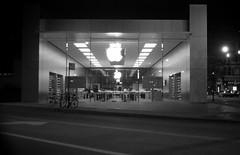 Around town, late night. (bavan.prashant) Tags: blackandwhite bw apple night december hc110 orwo coldwinter 2013 dilb coldwinternight 6m40s nikkonf100 epsonv600 winter2013 orwon74 backseattravel