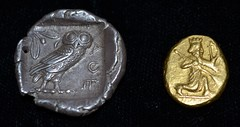 An Athenian tetradrachm (left) and a Persian daric (right) (Rob Sing) Tags: silver gold persian coins athenian daric tetradrachm