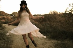 New Dreams (Claire Bryett Andrew Pictures) Tags: california new trees girls light sunset sun nature hat photo chains claire woods lily lace top spin silk hats teens andrew sage hills bleu dirt trail fairy blond dresses twirl spinning dreams cassandra coats topanga cass dressed tale bryett