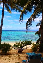 Raro Relaxing (ZAbbey72) Tags: ocean trees beach water polynesia islands sand pacific south cook lagoon palm tropical rarotonga