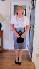 Little Black Bag (Trixy Deans) Tags: cute sexy classic cd skirt crossdressing tranny transvestite trans midi transgendered crossdresser crossdress skirts sexylegs transsexual classy shemale longskirt sexyblonde shemales xdresser transvesite sexyheels sexytransvestite