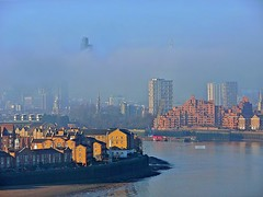 London Fog (Deepgreen2009) Tags: city winter sky cloud london weather fog thames river towers tall tops cloaked