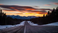 Sailor's Delight [Explored] (WherezJeff) Tags: road longexposure winter sunset red orange canada highway january dry alberta davidthompson