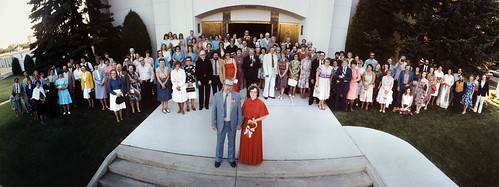 1981 widelux panorama photo of the Frank Vyzralek and Delores Banard wedding at the Cathedral of the Holy Spirit in Bismarck, North Dakota
