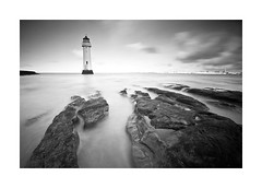 Slippery When Wet! (A-D-Jones) Tags: ocean new light sea sky white house seascape black beach rock liverpool landscape mono rocks brighton long exposure waves angle fort wide perch mersey wallasey wirral merseyside