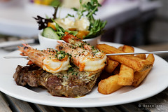 20140315-38-Surf and turf at Waterside Cafe in Dunalley.jpg (Roger T Wong) Tags: food water lunch cafe beef prawns australia chips steak tasmania surfandturf 2014 waterfrontcafe canonef24105mmf4lisusm canon24105 dunalley canoneos6d rogertwong