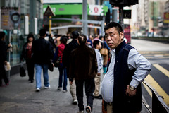 Why The Face (Photos By Dlee) Tags: street old morning people man canon asian person hongkong bokeh candid chinese clothes adobe mongkok nathanroad cs6 550d bokehlicious t2i sigma50mm14 kissx4 lightroom5 photosbydlee photosbydlee13