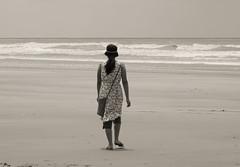 Traveller (Sougata2013) Tags: sea bw woman india nature water girl lady season nikon august tourist traveller monsoon bengal westbengal bayofbengal digha seabeach 2013 mandermoni nikoncoolpixl120