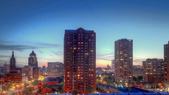 Milwaukee Sunset from the roof (johndecember) Tags: sunset usa tower home skyline wisconsin spring downtown gallery apartment album may condo milwaukee hdr roofview upontheroof mke 16x9 2014 easttown photomatixpro yankeehill photoscape juneauvillage canonef40mmf28stm