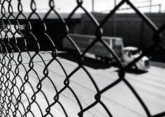Cool Runnings~ (K.Chris ~AlwaYs LeaRning~) Tags: blackandwhite monochrome light shadow structure outdoor fence truck highway