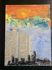 Blauer Mann (alois_roehrl) Tags: collage acryl oldbooks buchdeckel bookcovercollage collageonoldbookcover