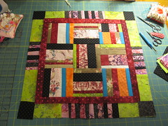 String Blocks rail fence pattern small quilt by Janie 2016 (crazyvictoriana) Tags: liberated string small art modern rail fence bordered