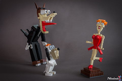Droopy & The Wolf (74louloute) Tags: 2017 lego moc tex avery droopy wolf redhotridinghood brickbuild redhead red hot riding hood