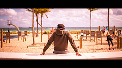 Like a boss - Fort Lauderdale, United States - Color street photography (Giuseppe Milo (www.pixael.com)) Tags: streetphotography guy sunset cinematic street people florida fitness sun man urban headphones candid unitedstates sky beach usa music sea fortlauderdale onsale faceless