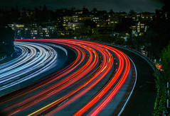 super delicious curve (pbo31) Tags: oakland eastbay alamedacounty bayarea night color dark black february 2017 winter boury pbo31 nikon d810 lightstream motion traffic roadway red highway 580 ramp over curve grandlake overpass delicious adamspoint
