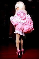 Panty Flashing 3 (jensatin4242) Tags: sissy sissymaid crossdresser transvestite jensatin pink taffeta frilly panties petticoats maryjanes fishnets