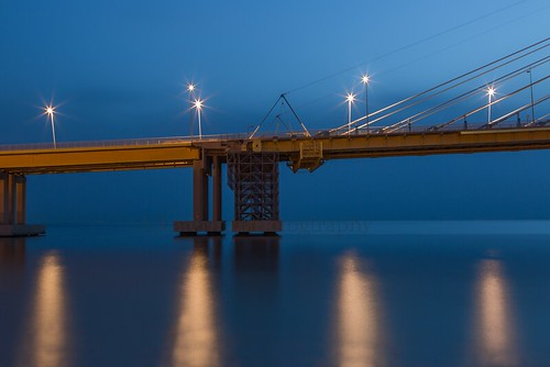 Rio bridge under the blue moonlight