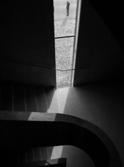 waiting (Georgie Pauwels) Tags: stairs window museum geometry public streetphotography street lines blackandwhite olympus candid moment