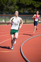Kent going for the school record in the DMR (Malcolm Slaney) Tags: 2017 dmr distancemedleyrelay stanfordinvitational track trackandfield