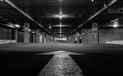 Show Me The Way Out (J_Care) Tags: light blackandwhite lines night canon hospital vanishingpoint tripod perth 7d arrow carpark westernaustralia 1740f4l charlesgairdnerhospital tributetoll