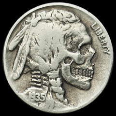 buffalo skull #10 (Seth Basista Engraving) Tags: art halloween modern skull necklace carved seth coin coins jewelry engraving horror nickel nickels hobo engraved sculpted basista