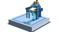Water Slide (RS 1990) Tags: new blue pool swimming lego wip elements waterslide moc ldd lxf digitaldesigner
