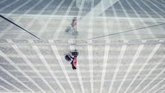 Lost In Reflection (Gilderic Photography) Tags: city travel people urban cinema reflection glass lines station architecture canon walking grid eos couple europe raw belgium belgique belgie gare creative surreal down reflet calatrava future grille cinematic liege ville upside luik lignes 500d experimantal guillemins voayage gilderic