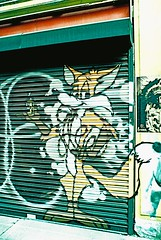 Derelict Row - Fox (Cris Ward) Tags: street city summer people urban sun streetart streets colour green slr london abandoned film analog 35mm walking prime graffiti daylight high lomo xpro lomography crossprocessed aqua closed paint fuji market decay turquoise vibrant crossprocess 28mm over sunny wideangle slide highlights velvia crossprocessing m42 fujifilm analogue manual colourful 50 fujichrome derelict e6 yashica exposed rundown blown colorshift shutdown velvia50 petticoatlane c41 colourshift prinzflex fujichromevelvia50 toynbeestreet yashicafxd lomographyuk