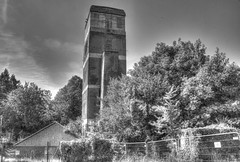 Derelict Hospital - Water tower (ArtGordon1) Tags: blackandwhite bw abandoned hospital blackwhite watertower surrey milford derelict abandonedbuilding derelictbuilding davegordon davidgordon milfordhospital artgordon1 daveartgordon daveagordon davidagordon
