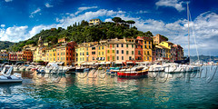 Low Angle Panoramic View of Portofino Harbor, Liguria, Italy (George Oze) Tags: travel italy panorama horizontal architecture port landscape outdoors bay harbor colorful europe mediterranean liguria scenic historic daytime fishingboats portofino europeanunion mediterraneansea smallboats liguriancoast laspeziaprovince traditionalboats buildingexteriors buildingalongtheharbor