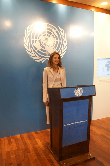 "Queen Rania Al Abdullah of Jordan at the Opening of the exhibition ""Listening to ONE MILLION Voices"" , Credit Lusha Chen/IPS"