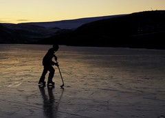 The Big Leagues (Clare Kines Photography) Tags: sunset canada ice hockey pond north arctic nunavut arcticbay deaddoglake