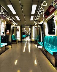 Redline MRT to infinity (.Andy Hall.) Tags: silver point vanishingpoint infinity empty cyan taiwan commute taipei mrt vanishing hdr