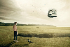alone with the raven (Annasara Bjaaland) Tags: world autumn roof light boy sun house reflection tree bird nature water colors grass birds yellow photoshop naked landscape iceland alone surrealism surreal human montage raven sigurros interpretation flyinghouse ideabased