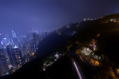 Going up and down (MilaMai) Tags: city longexposure sky mountain skyline night buildings hongkong lights asia cityscape tram peak lighttrails thepeak victoriapeak skycraper observationdeck
