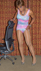 They're Pink & Blue Too! (kaceycd) Tags: pumps highheels metallic tgirl stilettoheels pantyhose crossdress spandex lycra tg stilettos scc minidress wetlook sexypumps southerncomfortconference stilettopumps scc2013